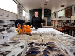 "Independent, 29 October 2015: ""Karen Wright meets the arist at her studio on a Dutch barge moored in the Thames near Hampton Court."" Photograph: David Sandison."