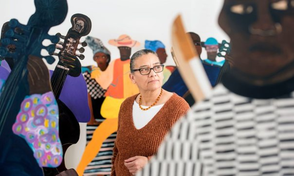 """Photograph: Adrian Sherratt for the Guardian, 18 January 2017 / """"Born in Zanzibar and raised in Britain, Lubaina Himid makes work about everything from slavery to Thatcher to the cotton trade. Now in her 60s, she's finally getting the recognition she deserves."""""""