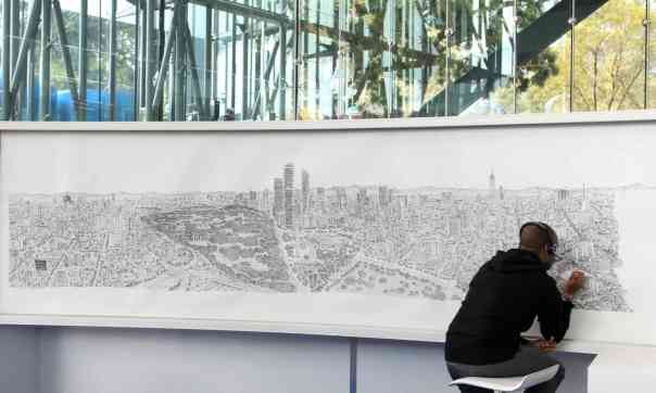 "Guardian, 2017: ""British artist Stephen Wiltshire draws detailed panoramas from memory after just a brief gaze at the cityscapes. Wiltshire is autistic, but his family and those he works with are keen to stress that he's seen as an artist in his own right."" Photo: Mario Guzman/EPA."