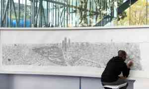 """Guardian, 2017: """"British artist Stephen Wiltshire draws detailed panoramas from memory after just a brief gaze at the cityscapes. Wiltshire is autistic, but his family and those he works with are keen to stress that he's seen as an artist in his own right."""" Photo: Mario Guzman/EPA."""