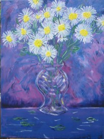 With 6-year-old grandson Jay │ SHASTA DAISIES │ 2017 │ Acrylics on canvas