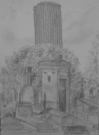 Montparnasse Cemetery, 2013, pencil on paper