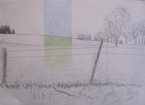 Standing stones near Dunkeld, June 2008, pencil and crayon on A3 paper