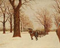 The Snow Plough Passing Norwood Green Pond, Norwood Green, Southall, Ernest A. L. Ham (1874–1958), 1901