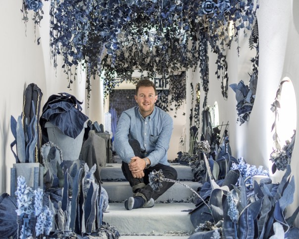 """Creative Boom, 10 January 2018: """"Secret Garden: Artist Ian Berry crafts a path of nature entirely out of denim jeans."""" Photo: Lucinda Grange."""