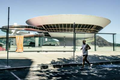The museum designed by Oscar Niemeyer in Niteroi, closed because of the virus. Photograph: Nicoló Lanfranchi/The Guardian