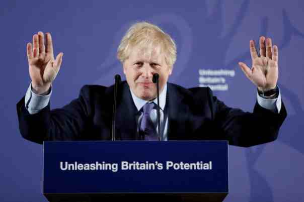 Boris Johnson speaking about the EU on 3 February. Photograph: Reuters