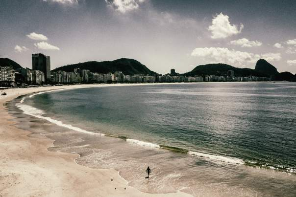 Copacabana beach, empty during the coronavirus outbreak. Photograph: Nicoló Lanfranchi/The Guardian
