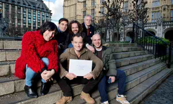 With Noel Fielding, Jamie Byng, Stephen Daldry, Jude Law and fellow refugee Ahmad Al-Rashid, delivering a letter to the PM about the treatment of child refugees. Photograph: Linda Nylind/The Guardian