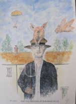 The Pig Farmer of Burgage Field │ 2020 │ Ink and watercolour │ 39 x 24 cm