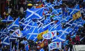 A demonstration calling for Scottish independence in Glasgow on 31 January 2020. There has been majority support in Scotland for breaking away from the UK in 17 successive opinion polls. Photograph: Andy Buchanan/AFP via Getty Images