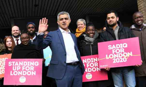 London mayor Sadiq Khan launching his campaign for re-election, March 2020. Photograph: Andy Rain/EPA
