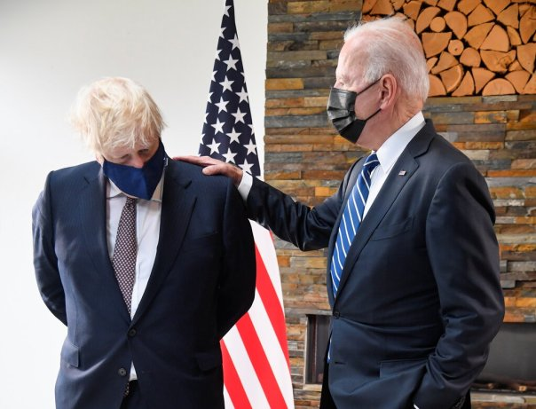 Prime Minister Boris Johnson of Britain and President Biden in Cornwall, England, on Thursday. Despite all the havoc Mr. Johnson's Conservatives have caused, the party is in a stronger position than ever.Credit...Pool photo by Toby Melville