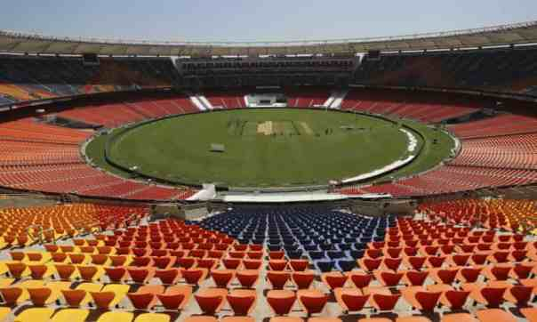 Narendra Modi stadium. Photograph: Aijaz Rahi/AP
