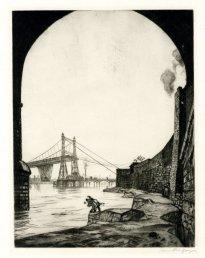 'Runcorn Suspension Bridge,' c. 1913, drypoint, 267 x 215 mm