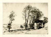 'View from a hillside at Southwold,' 1913. Drypoint, 125 x 177 mm