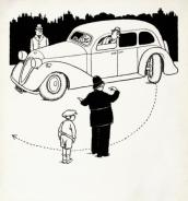 W HEATH ROBINSON AND K R G BROWNE: THE NEW REAR WHEEL GEAR FOR TURNING THE CAR RIGHT ROUND IN ONE MOVEMENT