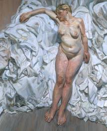 Lucian Freud: Standing by the Rags, 1988–9. Oil on canvas, 1689 x 1384 mm, frame: 1810 x 1505 x 84 mm. Collection: Tate