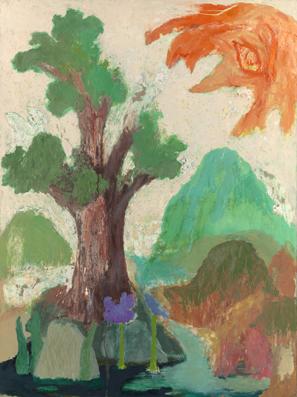 Iris, tree and sun, 1990-2000, oil on board, 122.5 x 91.5 cm
