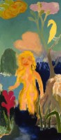 Woman standing in Sea with crimson Flowers & pale, 1989/91, oil on board, 152.4 x 68.5 cm
