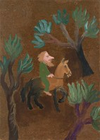 Rider in the Forest, c.1970, acrylic on board, 53 x 38 cm