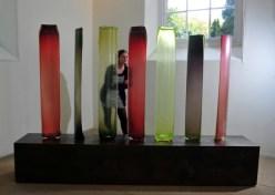 """Kate Robertson looks at glass work by renowned Venetian artist Laura de Santillana."" Photo: Tony Johnson"