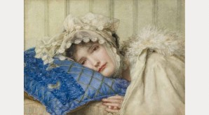 Anna Alma-Tadema: Girl in a Bonnet with her Head on a Blue Pillow, 1902
