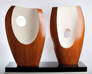 Barbara Hepworth, Two Forms with White (Greek), 1963, Guarea wood. Wakefield Council Permanent Art Collection.