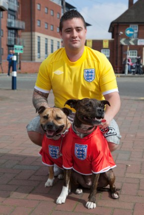 Daniel Horton with his dogs on a St George's Day parade, West Bromwich, 2010