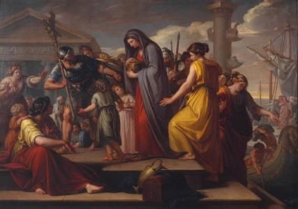 Gavin Hamilton: Agrippina Landing at Brindisium with the Ashes of Germanicus, 1765-72. Oil on canvas, 1825 x 2560 mm