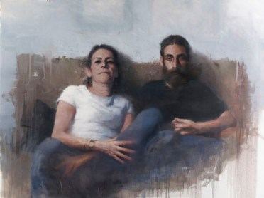 Borja Buces Renard: My Mother and My Brother on a Sunday Evening, 2014. Oil on canvas, 1600 x 2200mm