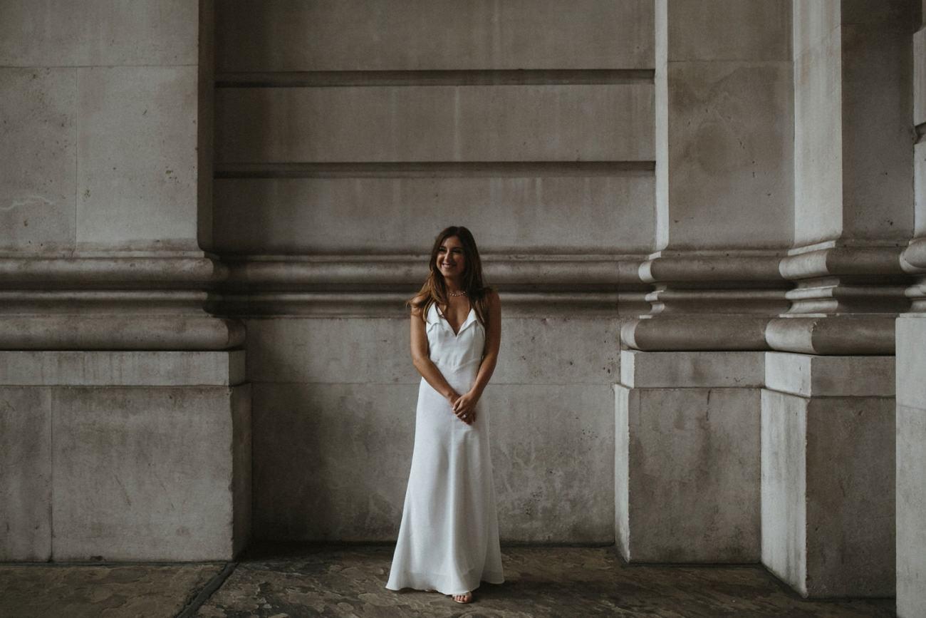 Bride in London waiting for groom