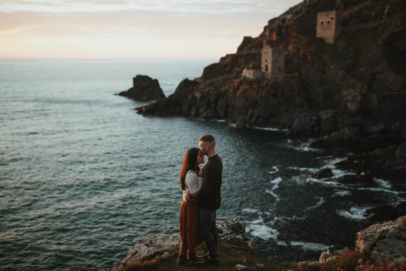 Cornwall engagement shoot with cornish mines