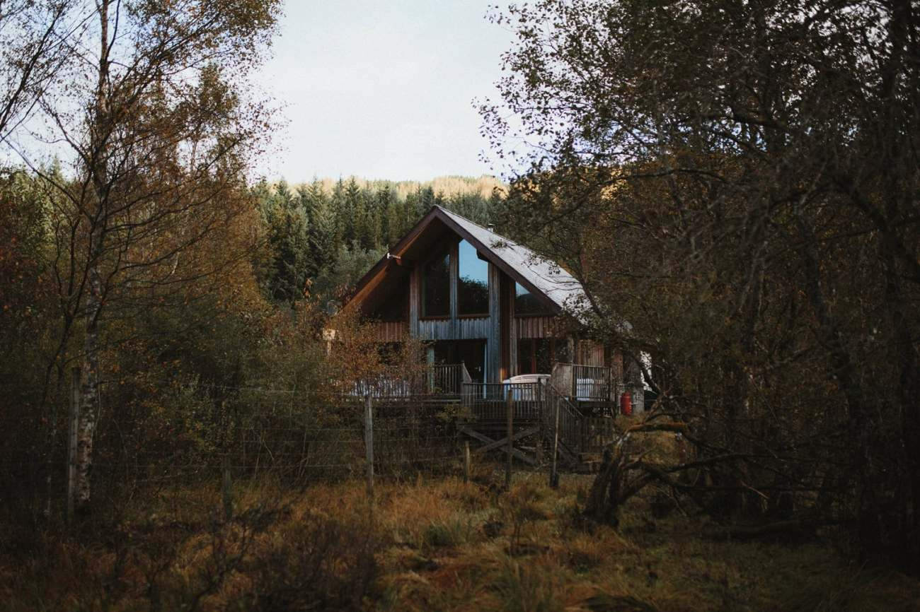 cabin in the forest located in the Scottish Highlands