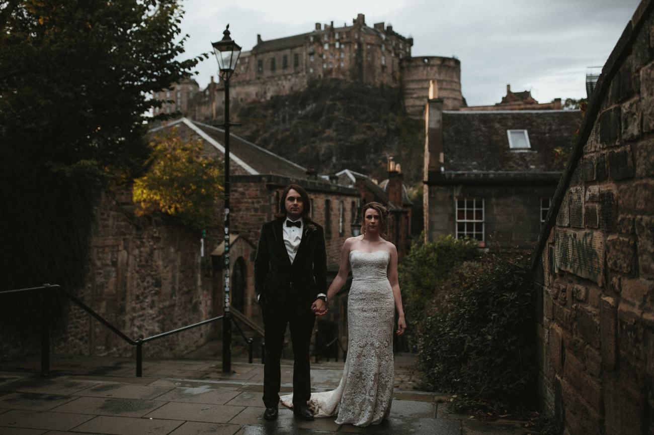 Bride and Groom in front of Edinburgh Castle, Scotland