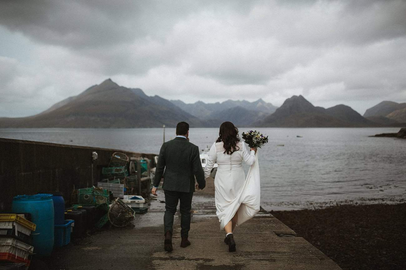 Bride and Groom walking to boat to go to Loch Coruisk