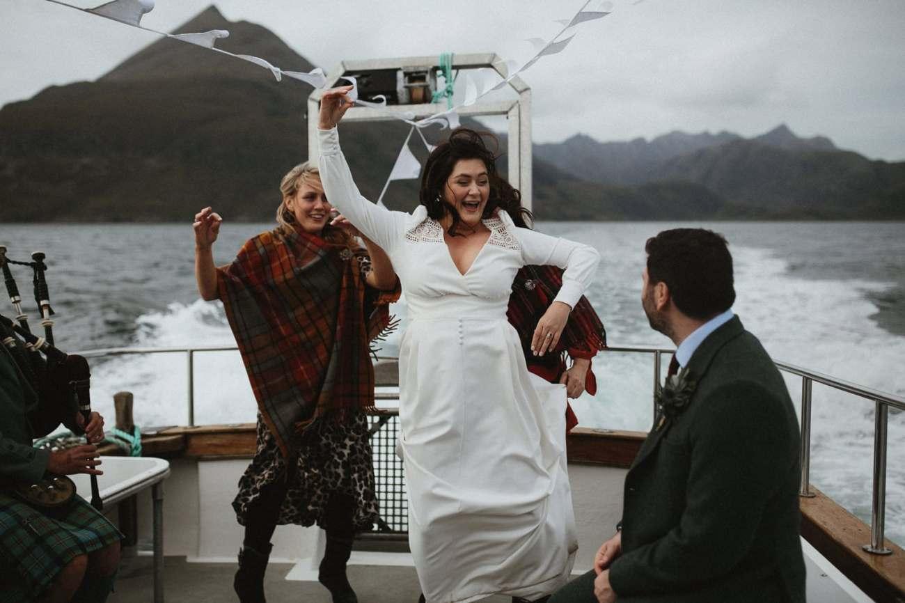 Highland dancing on boat