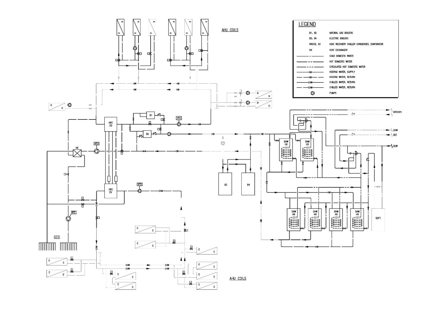 hight resolution of figure 4 chilled and hot water hydronic circuits showing new pipework in bold