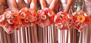 Coral, Blush and Peach Dahlia and Garden Rose Bouquets