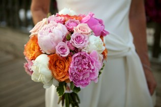 Pink, Coral and Ivory Peony and Rose Bouquet