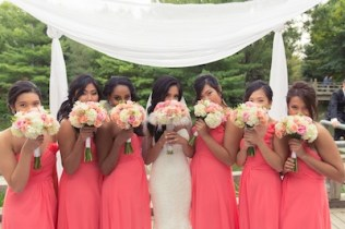 Pink and peach bridal party flowers