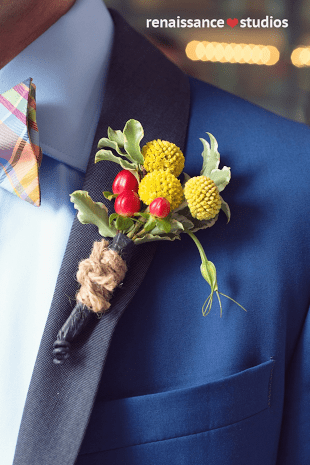 Rustic Yellow and Red Boutonniere