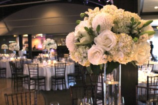 White Tall Centerpiece of Hydrangea, Roses, Mums and Lilies