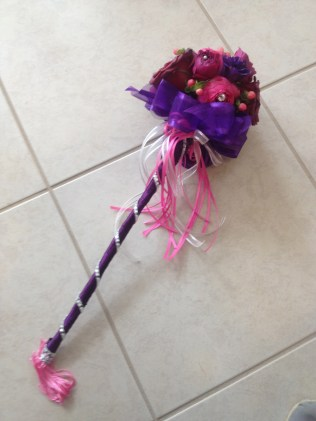 Pink, Purple and Red Flower Girl Wand