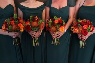 Orange, Red and Green Bridesmaids Bouquets
