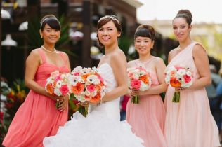 Coral, Peach and Ivory Bouquets