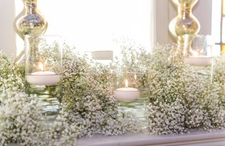 Berkeley Church Ceremony Detail - Baby's Breath with Floating Candles