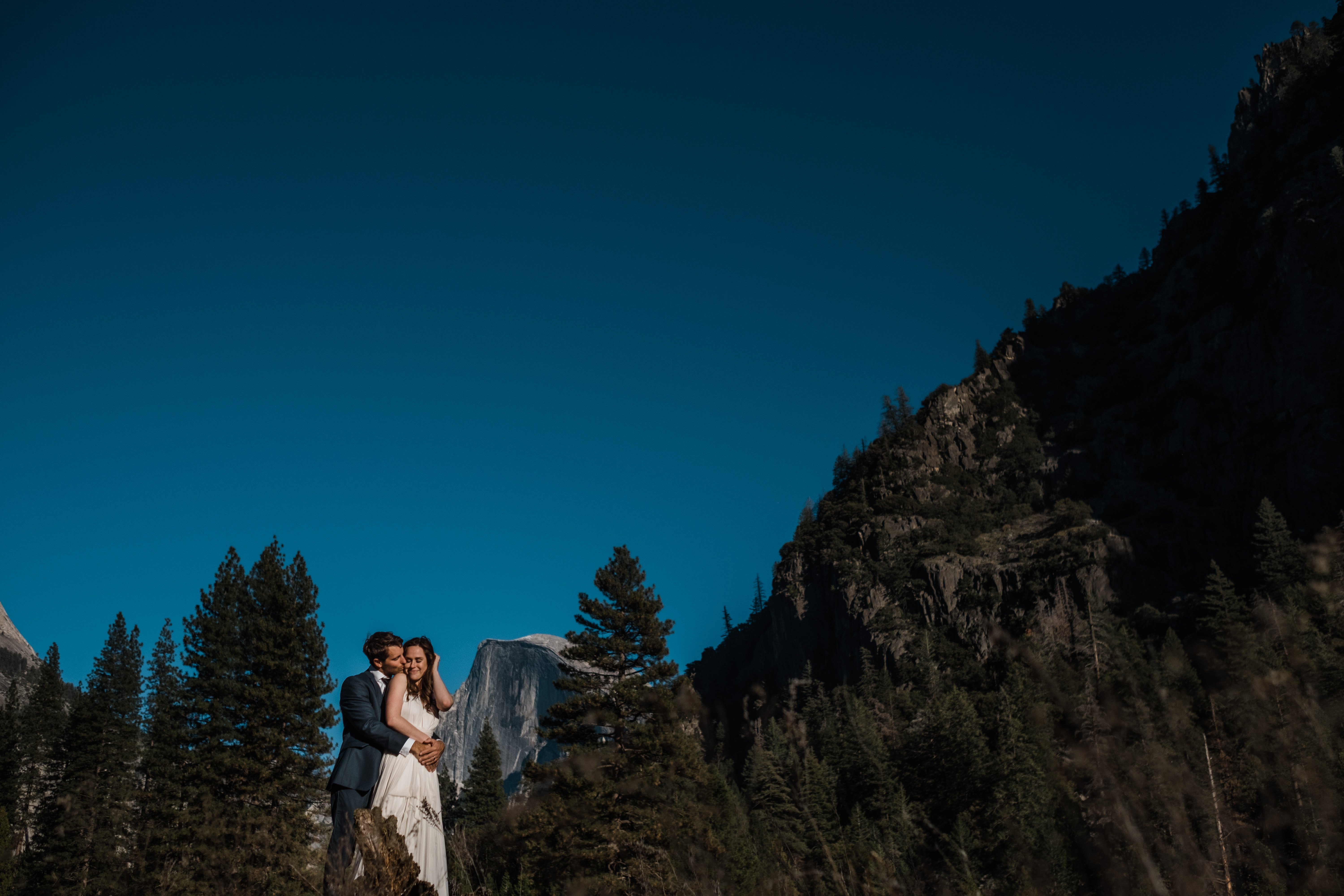 Half Dome makes an appearance as a background dancer at Ryan and Kim's Yosemite elopement session.