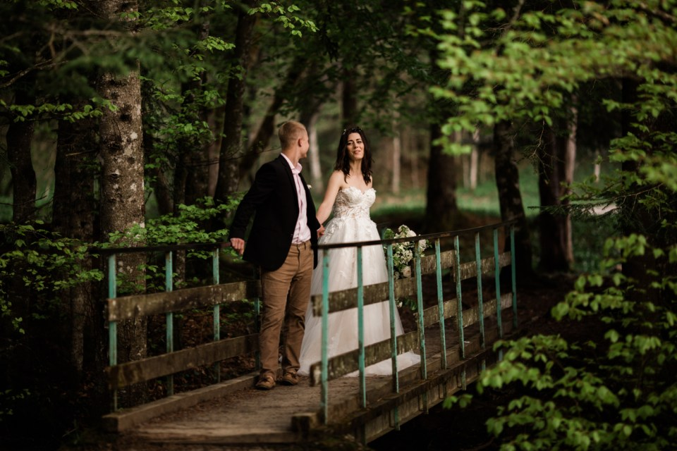 Creek crossing adventure wedding.