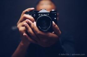 Self Portrait: Ashveen, with old Zenit Camera